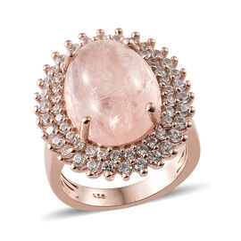 Marropino Morganite (Ovl 10.00 Ct), Natural Cambodian Zircon Ring in Rose Gold Overlay Sterling Silv