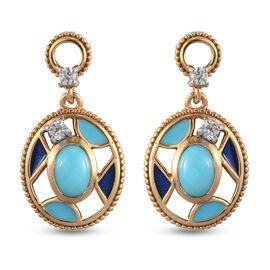 Arizona Sleeping Beauty Turquoise and Natural Cambodian Zircon Enamelled Earrings (with Push Back) i