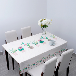 100% Waterproof PVC Table Cloth with Cactus Pattern (Size 140x137cm) - Cream