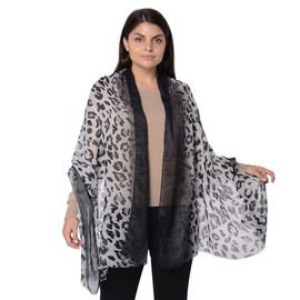 Leopard Pattern Winter Scarf with Tassel (Size 90x180 Cm) - Grey and Black