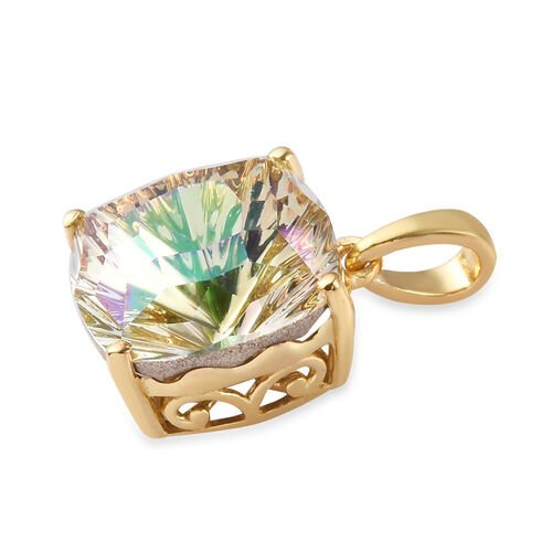 J Francis Crystal From Swarovski Lumingreen Crystal Pendant in 14K Gold Overlay Sterling Silver