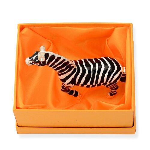 (Option 2) Red Austrian Crystal Black and White Colour Enameled Zebra Shape Trinket Box in Silver Tone
