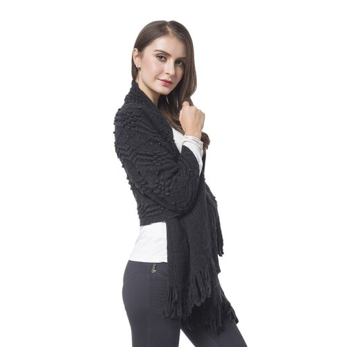 Simulated Pearl Embellished Black Colour Diamond and Stripes Pattern Shawl with Tassels (Size 180X50 Cm)