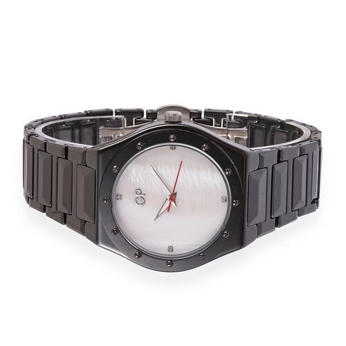 GP Swiss Movement White MOP Dial with Diamond 3ATM Water Resistant Watch in ION Plated Black Tone Stainless Steel with Black Ceramic Strap