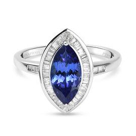 RHAPSODY 950 Platinum AAAA Tanzanite (2.00 Ct ) and Diamond Ring 2.50 Ct.