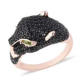 Natural Boi Ploi Black Spinel (Rnd), Russian Diopside Leopard Head Cluster Ring in Rose Gold and Bla