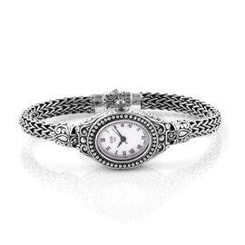 Royal Bali Collection EON 1962 Sterling Silver Handmade Tulang Naga Bracelet Watch (Size 6.5) with Stainless Steel Dial, Silver wt 36.00 Gms.