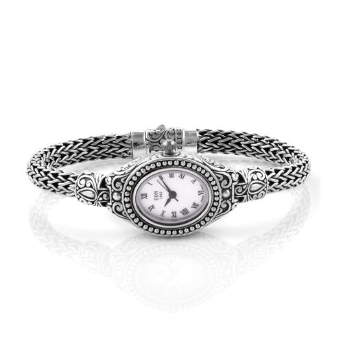 Royal Bali Collection EON 1962 Sterling Silver Handmade Tulang Naga Bracelet Watch (Size 7.25) with