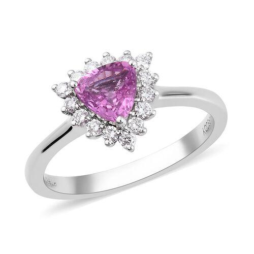 RHAPSODY 950 Platinum AAAA Madagascar Pink Sapphire and Diamond (VS/E-F) Ring 1.10 Ct, Platinum wt.