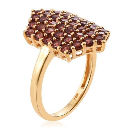 Mozambique Garnet 3 Ct  Silver Cluster Ring in 14K Gold Overlay