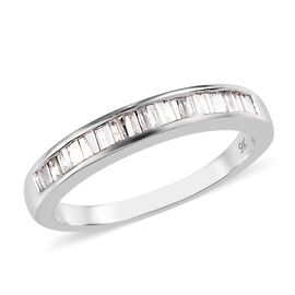 0.50 Ct Diamond Half Eternity Band Ring in 9K White Gold 3.40 Grams