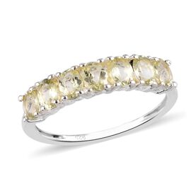 Yellow Apatite 7-Stone Ring in Sterling Silver 0.75 Ct.