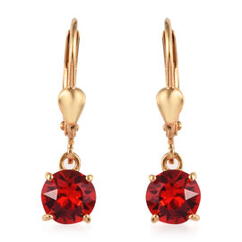 J Francis - Crystal from Swarovski Light Siam Crystal (Rnd) Lever Back Earrings in 14K Yellow Gold O