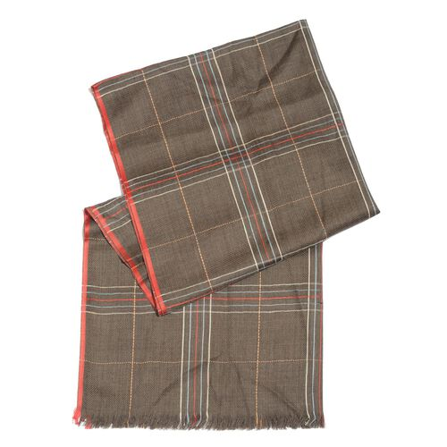 92% Merino Wool and 8% Silk Chocolate, Red and Multi Colour Checks Pattern Scarf with Fringes (Size 180X70 Cm)