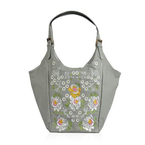 Genuine Leather Floral Embroidered Grey Colour Handbag with Adjustable Shoulder Strap (Size 50X30X21.5 Cm)