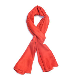New Season 100% Mulberry Silk Red Coral Colour Scarf (Size 180X100 Cm)