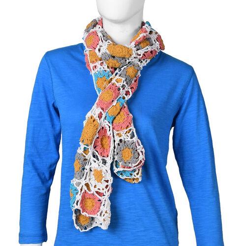 Limited Collection La Marey 100% Cotton Hand Crochet White, Mustard & Multi Colour Floral Scarf (144