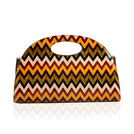 100% Genuine Leather Brown Colour Hand Printed Convertible Sling Zig - Zag Pattern Handbag With RFID