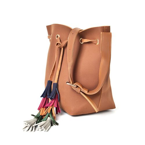 Chocolate Colour Crossbody Bag with Adjustable Shoulder Strap and Colourful Tassels (Size 31X26X13 Cm)