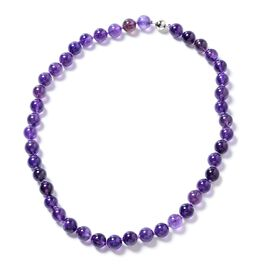 Amethyst (Rnd 9-11 mm) Beads Necklace (Size 20) in Sterling Silver 286.010  Ct.