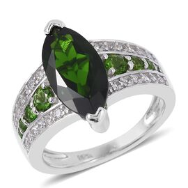 Preview Auction- Extremely Rare Size Russian Diopside (Mrq 14x7mm, 2.750 Ct.), Natural White Cambodian Zircon Ring in Rhodium Overlay Sterling Silver 3.705 Ct.
