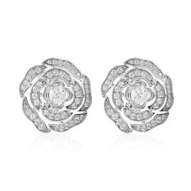 Simulated Diamond Rose Stud Earrings in Silver Plated