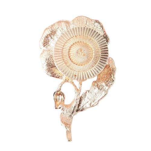 TJC Poppy Design Black and White Austrian Crystal Enamelled Poppy Brooch in Gold Tone