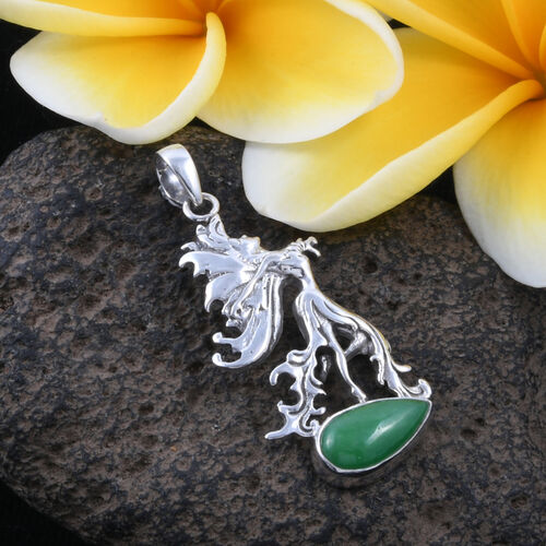 Royal Bali Collection - Green Jade (Pear) Pendant in Sterling Silver 9.680 Ct, Silver wt 6.13 Gms.