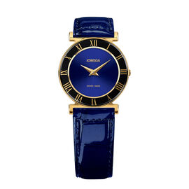 Jowissa - Roma Swiss Watch in Stainless Steel with Laser Engraved Logo and Genuine Leather Blue Stra