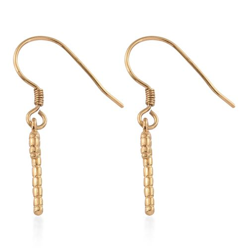 14K Gold Overlay Sterling Silver Christmas Stick Hook Earrings, Silver wt. 1.65 Gms.