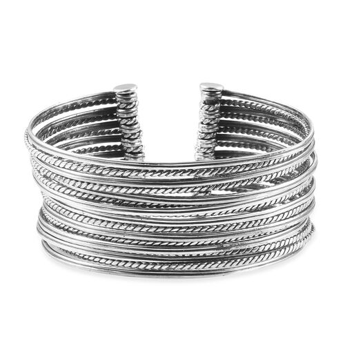 Designer Inspired-Cuff Bangle in Sterling Silver, Silver wt. 54.13 Gms