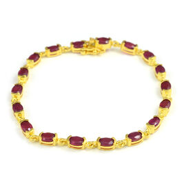 10.20 Ct African Ruby Station Bracelet in Yellow Gold Plated Sterling Silver 8.56 Grams 7.5 Inch