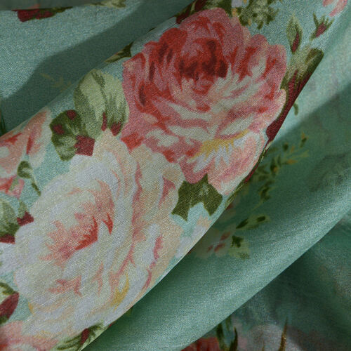 100% Mulberry Silk Red, White and Multi Colour Floral and Leaves Pattern Green Colour Digital Printed Scarf (Size 180x100 Cm)