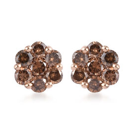 Limited Edition- 9K Rose Gold SGL Certified Natural Champagne Diamond (I2-I3) Floral Earrings (with