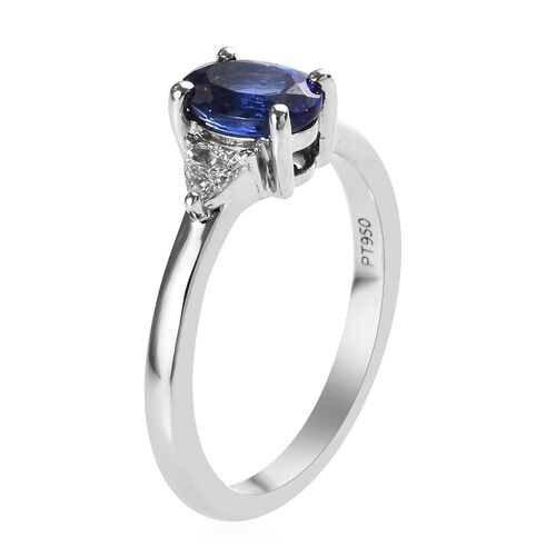 RHAPSODY 950 Platinum AAAA Tanzanite (Ovl), Diamond (VS/E-F) Ring 1.25 Ct.