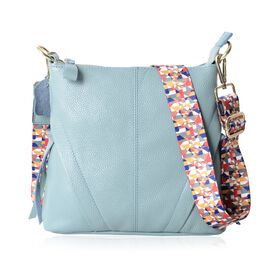 Super Soft 100% Genuine Leather Sky Blue Colour Crossbody Bag with External Zipper Pocket and Rainbow Strap (Size 25x23x8 Cm)