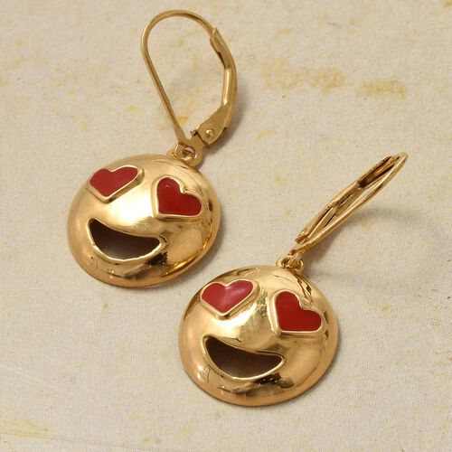 14K Gold Overlay Sterling SIlver Smiling Face with Red Heart-Eyes Smiley Earrings (with Lever Back)