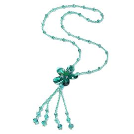 Designer Inspired Simulated Emerald and Green Quartzite Long Floral Necklace (Size 30)