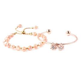 Set of 2 - Freshwater Peach Pearl, Simulated Diamond Bange (Size 7.5) and Adjustable Bolo Bracelet (