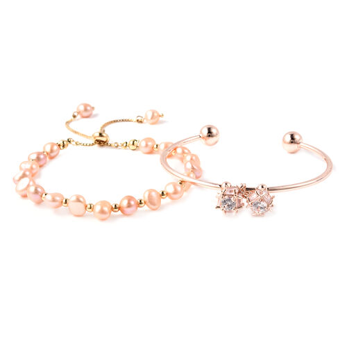 Set of 2 - Freshwater Peach Pearl, Simulated Diamond Bange (Size 7.5) and Adjustable Bolo Bracelet (