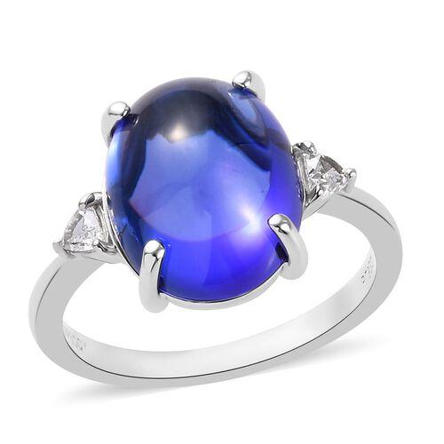 RHAPSODY 8.75 Ct AAAA Tanzanite and Diamond Solitaire Ring in 950 Platinum VS EF
