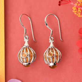 Sajen Silver GEM HEALING Collection - Citrine Earrings in Rhodium Overlay Earring  9.920  Ct.