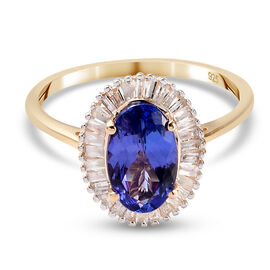 Close Out 9K Yellow Gold Tanzanite and White Diamond Halo Ring 1.51 Ct.