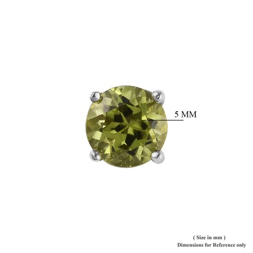 AA Hebei Peridot Stud Earrings (with Push Back) in Platinum Overlay Sterling Silver 1.00 Ct.