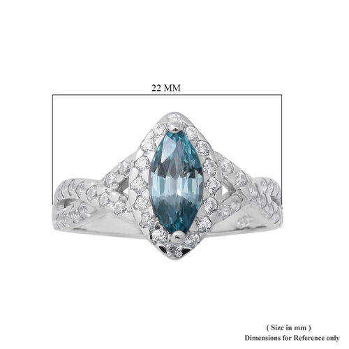 Ratnakiri Blue Zircon and Natural Cambodian Zircon Ring in Rhodium Overlay Sterling Silver 2.53 Ct