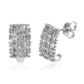 Diamond (Rnd and Bgt) Earrings (with Push Back) in Platinum Overlay Sterling Silver 1.00 Ct.