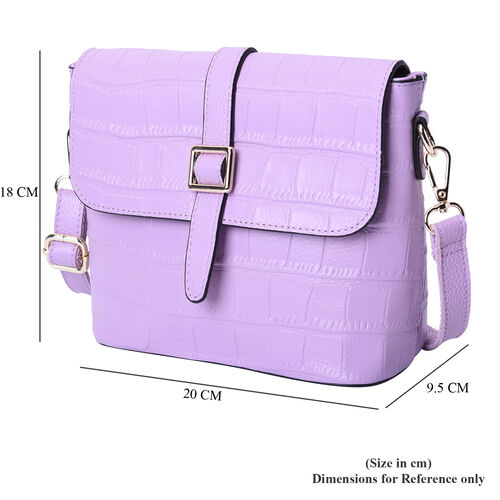 100% Genuine Leather Croc Pattern Crossbody Bag (20x9.5x18cm) - Lilac