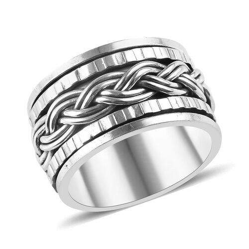Woven Spin Ring in Sterling Silver
