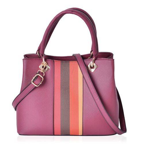 Red, Yellow and Multi Colour Stripes Pattern Tote Bag with Adjustable and Removable Shoulder Strap (Size 30.5X23X13.5 Cm)