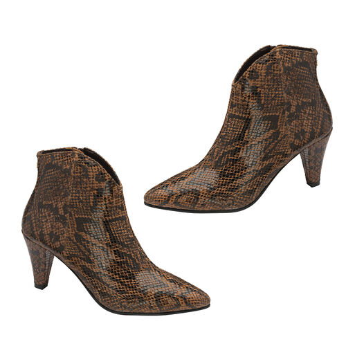 Ravel Levisa Snake Pattern Leather Heeled Ankle Boots (Size 6) - Brown